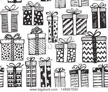 Vector seamless pattern with hand drawn Christmas or birthday ornate present boxes on white background. Black and white endless background in graphic doodle style for prints, cards, scrapbook.