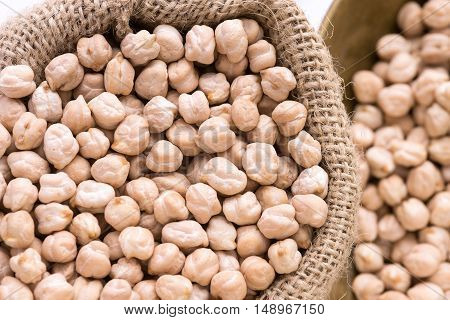Selective Focus Of Chickpeas With Hessian Sack