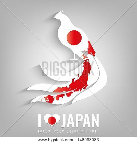 National Japan symbol Pheasant with an official flag and map silhouette. Japan map. Vector illustration