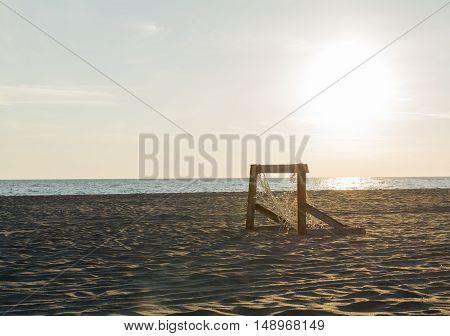 Football goal on the beautiful sandy beach