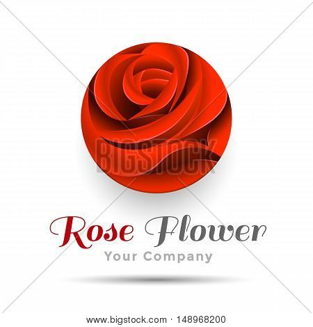 Beautiful Contour Red Logo with Rose Flower for Boutique or Beauty Salon Flowers Company. Vector design illustration. Template your business. Creative abstract colorful concept.