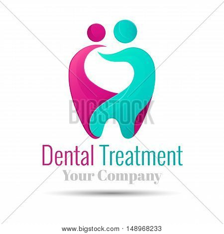 Vector logo combination of a tooth woman and man. Design illustration template for your business company. Creative abstract colorful concept.