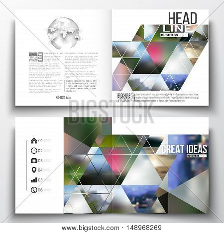 Set of annual report business templates for brochure, magazine, flyer or booklet. Abstract colorful polygonal background, natural landscapes, geometric, triangular style vector illustration.