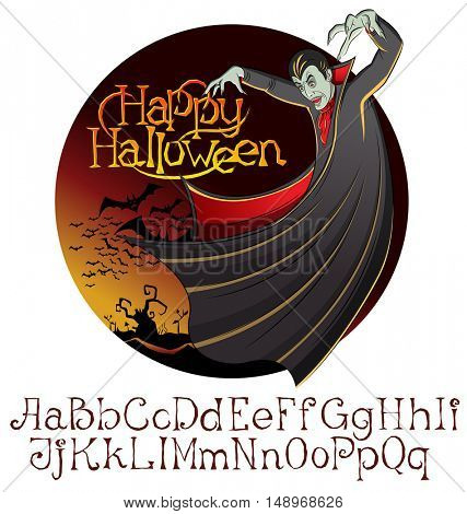 Cartoon Dracula vector. Halloween font set. Vampire Dracula Halloween. Halloween background