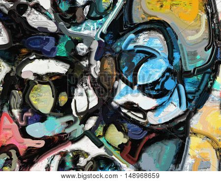Composition with white, red yellow and blue. Cold colors