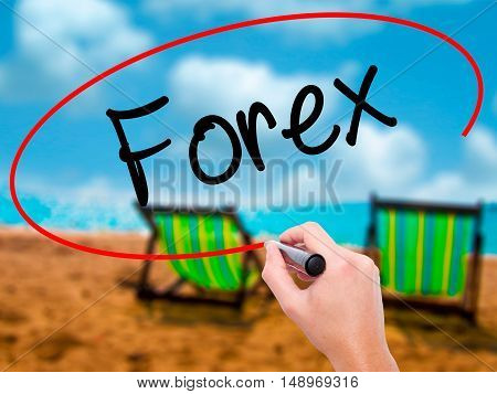 Man Hand Writing Forex With Black Marker On Visual Screen