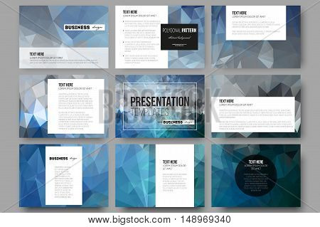 Set of 9 vector templates for presentation slides. Abstract blue polygonal background, colorful backdrop, modern stylish vector texture.