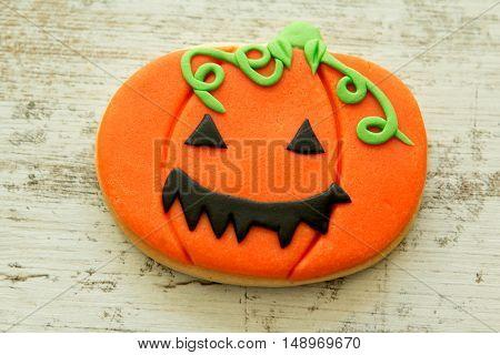 Halloween cookie shaped pumpkin. Sweet tradition