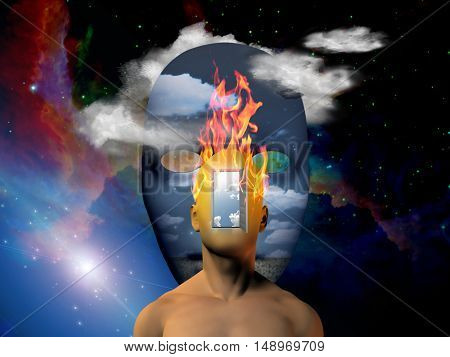 Burning human head with space face background  Some elements provided courtesy of NASA  3D Render