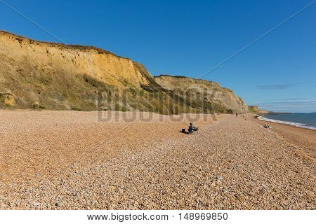 Shingle beach Eype Dorset England uk Jurassic coast south of Bridport and near West Bay