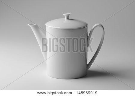 Isolated Cylindrical teapot white porcelain on white