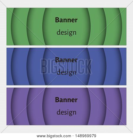 Banner design template. Abstract web banners set with curve elements and shadows. Violet, green, blue. Modern design. Vector illustration.
