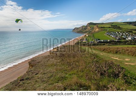 EYPE, DORSET, UK-SEPTEMBER  22ND  2016:  Fine late summer weather was enjoyed by hang glider enthusiasts and visitors to Eype, Dorset, England, UK on Thursday 22nd September 2016