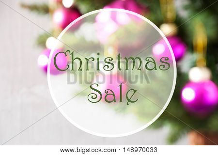 Christmas Tree With Rose Quartz Balls. Close Up Or Macro View. Christmas Card For Seasons Greetings. English Text Christmas Sale