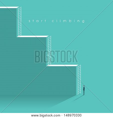 Career corporate ladder concept vector illustration. Businessman starting professional work with challenges. Eps10 vector illustration.