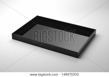 Empty Rectangular tray black plexiglass on white