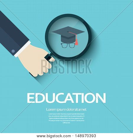 Education symbol with university student hat and glasses. Magnifying glass sign as searching for the right college or degree. Eps10 vector illustration.