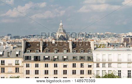 The panoramic view on parisian houses Paris France.