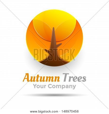 Round Autumn trees vector logo design illustration. Template for your business company. Creative abstract colorful concept.