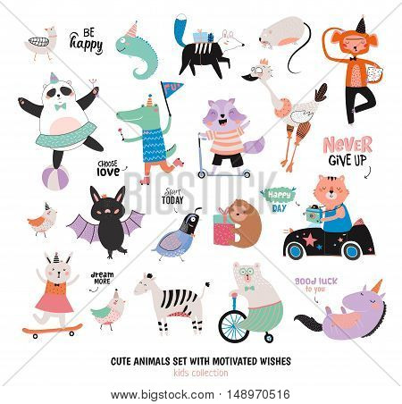 Cute Funny Animals and Motivated Wishes Set. Isolated. White background. Vector. Good for posters, stickers, cards, scrapbook, alphabet and baby showers. Kids collection