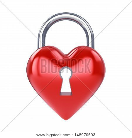 Heart padlock isolated on white , Marriage , 3d illustration