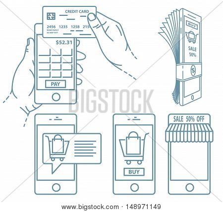 Mobile payment illustration set. Hand holds smartphone with online banking and touch pay button.