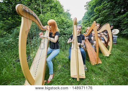 Seven young musicians play harps outdoors in park.