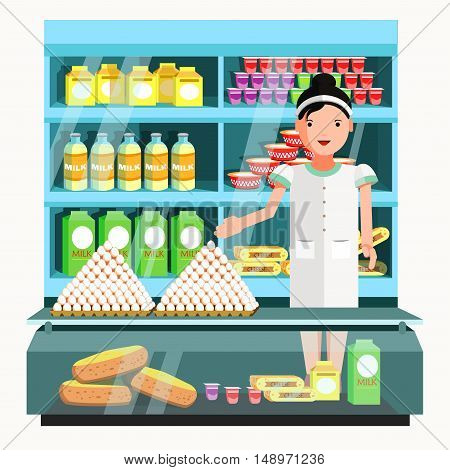 Dairy product seller at the counter and stall. Vector shop in flat style. Kiosk with milk products. Grocery stores illustration