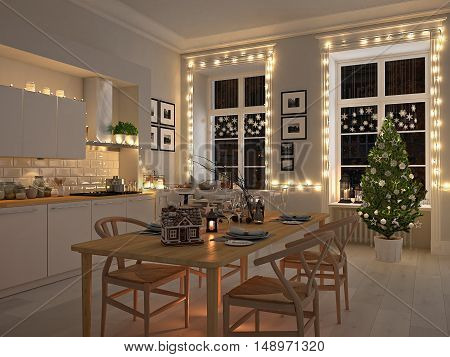 3d rendering. nordic kitchen with christmas decoration.