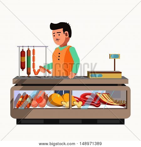 Butcher shop. Meat product seller at the counter and stall market. Vector shop in flat style. Kiosk with sausage products. Grocery store illustration.