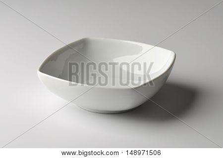 Empty Square Bowl in white porcelain on white