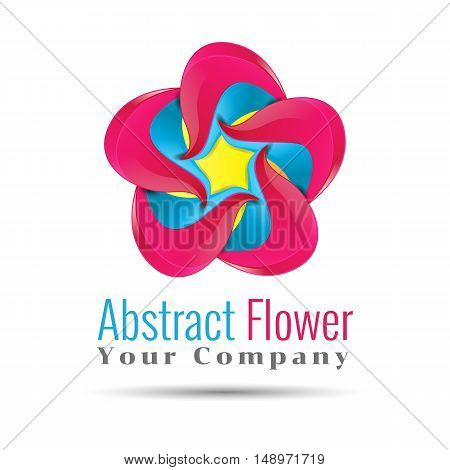 Yellow blue pink leafs logo design. Four leafs logotype. Vector logo design illustration. Template for your business company. Creative abstract colorful concept.