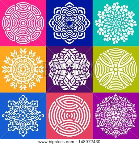Geometric abstract mandala vector illustration collection in squares