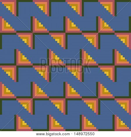 Colorful seamless stitching pattern on a blue background. Pixel art. Vector illustration