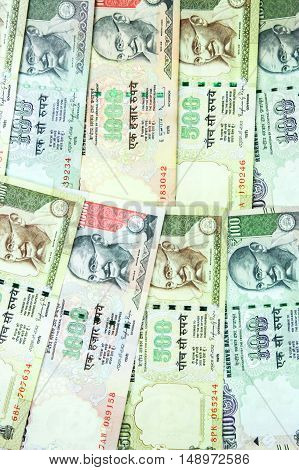 Indian Rupee's Bank Notes For Business And Finance Background