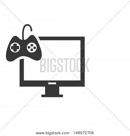 screen monitor computer device with videogame control icon silhouette. vector illustration