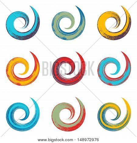 Colorful spiral vector brush strokes collection on white