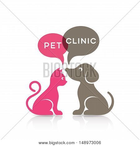 Colorful cat and dog silhouettes pet clinic sign