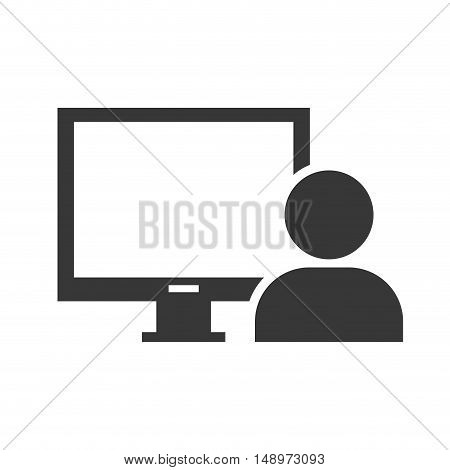 screen monitor computer device with user person icon silhouette. vector illustration