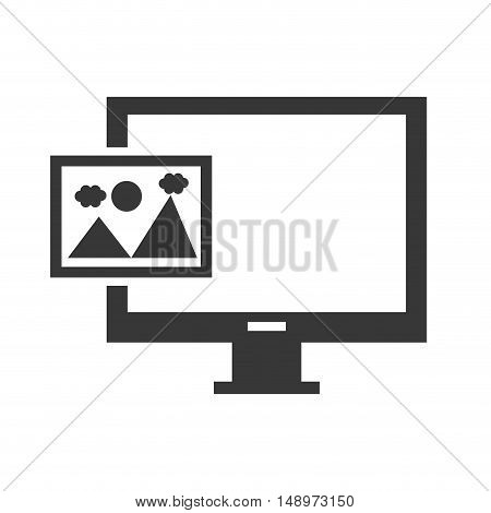 screen monitor computer device with picture icon silhouette. vector illustration