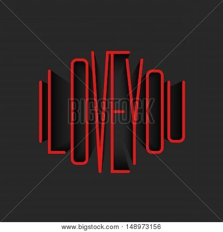 I Love You lettering red monogram poster mockup valentine is day greeting card background template