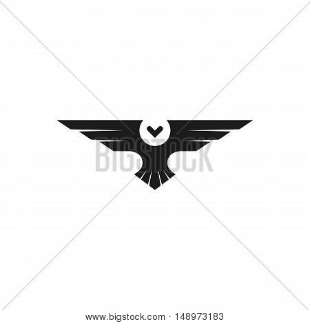 Owl Logo Isolated Bird Silhouette Negative Space Minimal Style, Black And White Animal Tattoo Insign
