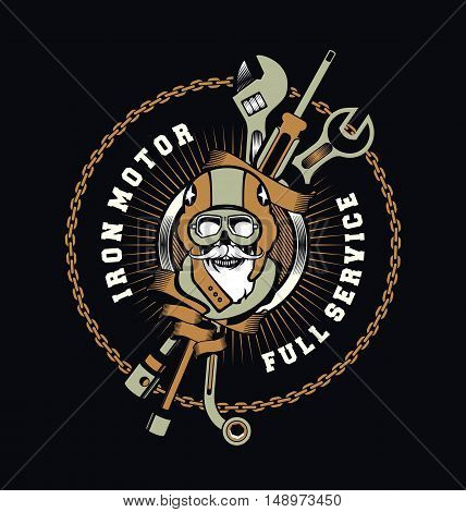 vector emblem garage skull helmet around tools
