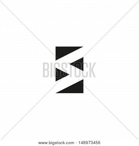 Letter S Logo Black And White Graphic Geometric Triangle Shape Design Tech Icon, Typography Emblem M