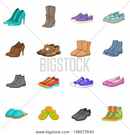 Shoe icons set in cartoon style. Men and women shoes set collection vector illustration