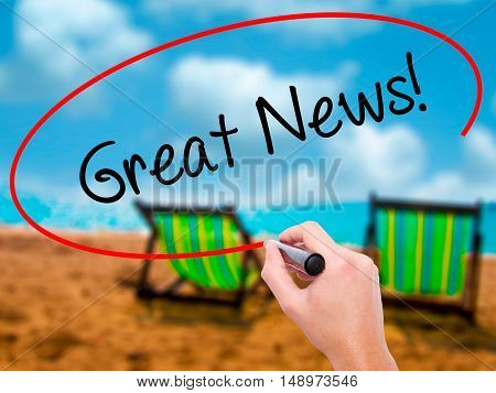 Man Hand Writing Great News! With Black Marker On Visual Screen