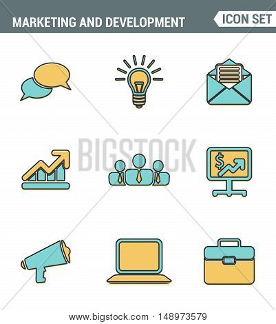 Icons Line set premium quality digital marketing symbol business development items social media objects and office equipment. Modern pictogram collection flat design style. Isolated white background