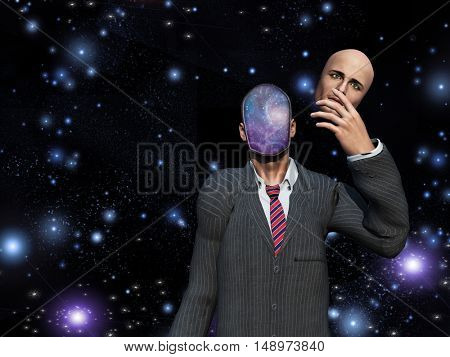 Man removes face to reveal stars inside  Some elements provided courtesy of NASA  3D Render