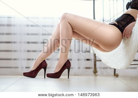 Beautiful Sexy Lady In Elegant Black Panties And Shoes. Close Up Fashion Portrait Of Model Indoors.