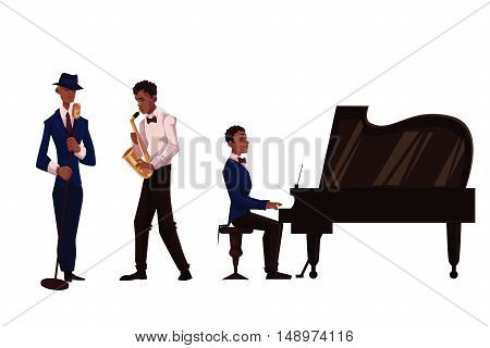 Handsome African male singer, saxophone player and pianist, cartoon vector illustration isolated on white background. Set of full height portraits of African American male musicians